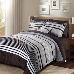 Luxury Stripe Bedding 10 Piece Comforter Set Striped Pattern Queen Size New Queen Bed Comforters, Queen Bedding Sets, Queen Beds, Comforter Sets, Grey Bed Sheets, Queen Sheets, Crib Sheets, Striped Bedding, King Sheet Sets