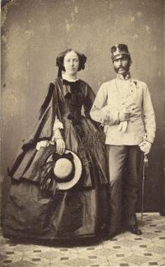 Archduke Karl Ferdinand of Austria-Teschen (1818 – 1874) with his wife Archduchess  Elisabeth of Austria, Princess of Hungary and Bohemia (1831 - 1903).