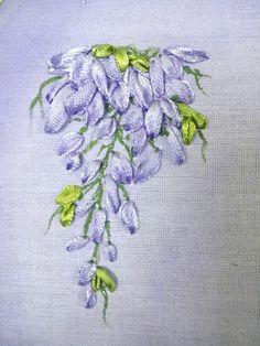 Satin ribbon embroidery -  Wisteria