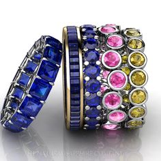 Blue, pink and yellow sapphire wedding bands.