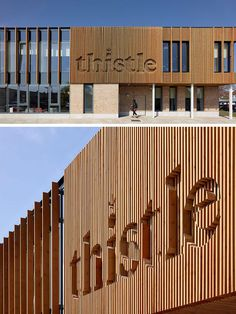 The wood logo on the exterior of this wellness centre has been integrated into the wood siding.