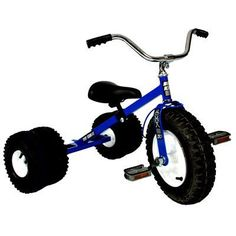 """Dirt King Child's Dually Tricycle BLUE by Dirt King. $309.99. The Dirt King® Childs Dually Tricycle adds a new look to the off-road ride by adding two additional knobby, deep tread air-filled tires for double the fun. Hand welded and constructed of heavy duty 14 and 16 gauge steel. The Dirt King® Childs Dually Tricycle comes equipped with all terrain """"dual"""" pneumatic tires mounted on heavy duty steel rims with 5/8 inch steel ballbearings.  The adjustable seat and tilting hand..."""