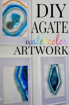 DIY Agate Watercolor Artwork via www.firsthomelovelife.com #diy #watercolors #paint