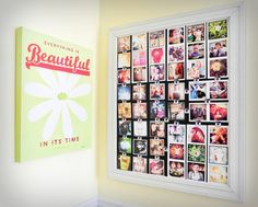 Great way to organize a bunch of little photos without it looking messy - frame it all out and pin with magnets