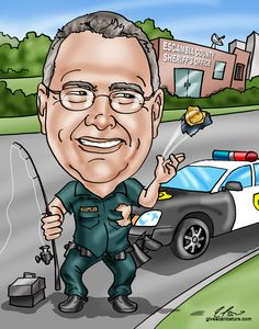 Showcase your retiring police officer's hobbies and history in a funny retirement caricature! Unique and hilarious gift caricatures starting at $99 by GiveAcaricature.com #police #retirement