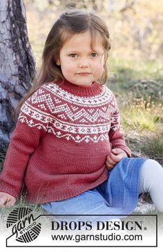 Kids Knitting Patterns, Baby Sweater Knitting Pattern, Jumper Patterns, Knitting For Kids, Free Knitting, Baby Knitting, Crochet Patterns, Drops Design, Crochet Diagram