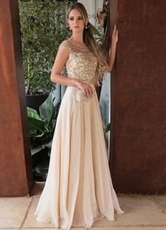 8ec20a284 A-Line Round Neck Floor-Length Light Champagne Prom Dress with  Beading,P2423. Luulla