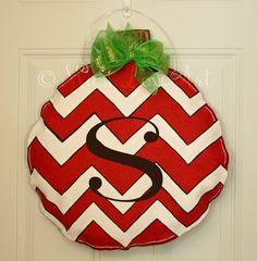 Christmas Ornament Chevron Burlap Door Hanger Decoration Personalized. $35.00, via Etsy.