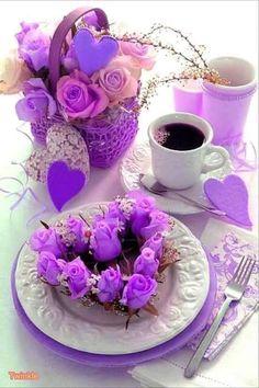 Jst a purple breakfast Good Morning Coffee, Good Morning Good Night, Coffee Break, Coffee Vs Tea, Coffee Cafe, Good Morning Flowers, Good Morning Greetings, All Things Purple, Mini Desserts