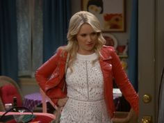 41e5f5e3a25c Gabi Diamond s White Lace Romper and Red Leather Jacket on Young   Hungry