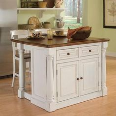Monarch 3-pc. Kitchen Island and Counter Stools Set, White