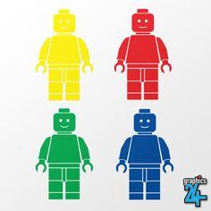 4 x Lego Man Set Children s Vinyl Wall Art Sticker Decal 280mm