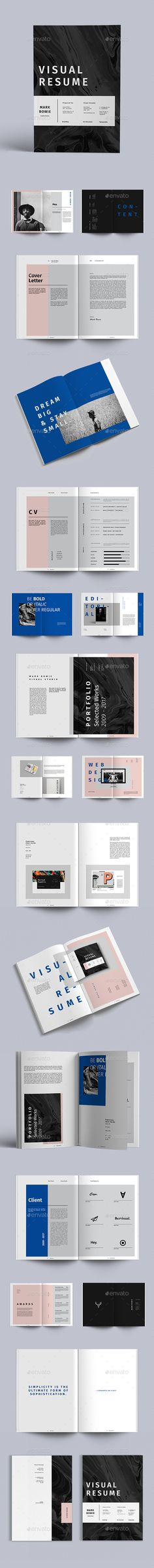 Visual Resume — InDesign INDD #print template • Download ➝ https://graphicriver.net/item/visual-resume/19081386?ref=pxcr