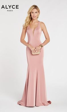 93e3ade6c42 Alyce 60281 long bodycon dress with a low v neckline Blush Pink Prom Dresses