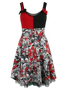 Add just a pinch of crazy to your wardrobe with this incredible DC inspired dress, bet you know whose it is? Beautifully coloured in Harley Quinn's trademark black-and-red, unravel yourself as the entire skirt is composed from partly coloured comic strips. Official merchandise.