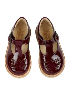 Rosie T-Bar Shoes in Bordeaux | Young Soles