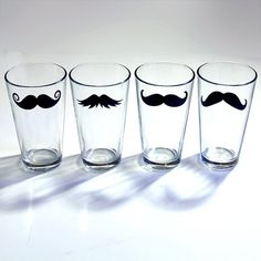 Mustache Drinking Glass.  Making my own. bought the beer mugs at the dollar store, have chalkboard spray paint and cut out the mustache templates.
