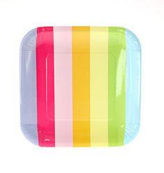 Rainbow Striped Square Plates  Perfect for a Unicorn Rainbow Party! #Unicornparty #Rainbowparty #sprinklesomehappinesswww.pixiedustpartyspot.com