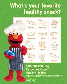 Find free preschool resources teaching kids nutrition here: http://www.sesamestreet.org/healthyhabits