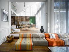 Streifen Polster Sofa Bilder Wand exotische Deko Ideen | Schiebetür ...