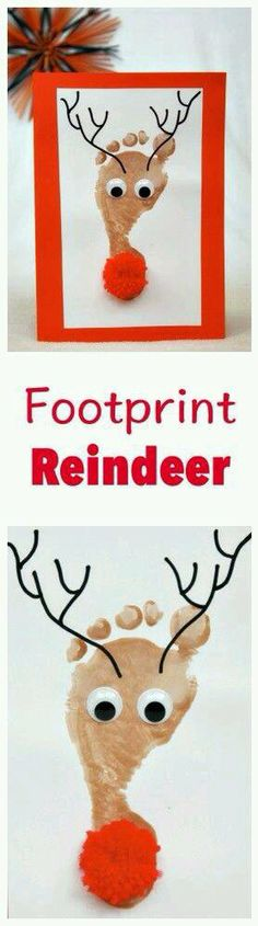 Fun And Easy Christmas Crafts For Kids : Reindeer Footprint Kids Crafts, Christmas Crafts For Toddlers, Daycare Crafts, Baby Crafts, Toddler Crafts, Preschool Crafts, Holiday Crafts, Holiday Fun, Crafts For Babies