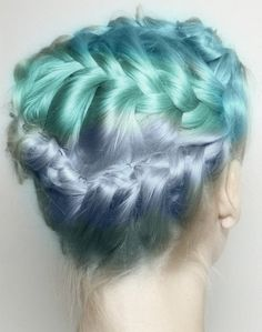 Braided dyed ombre pastel hair