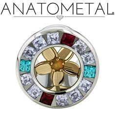 00ga Plumeria Eyelet in ASTM F-138 stainless steel with bronze Plumeria Insert: princess-cut Lavender CZ, Mint Green CZ, synthetic Garnet, and synthetic Opal #30 gems