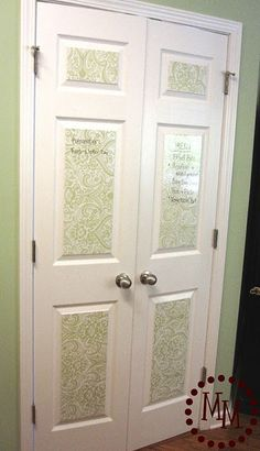 DIY Menu Board Door using adhesive-back dry erase sheets found at Joann Fabrics!  TUTORIAL