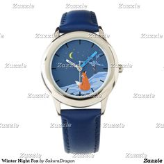 Winter Night Fox Wrist Watches #fox #foxes #animals #winter #moon