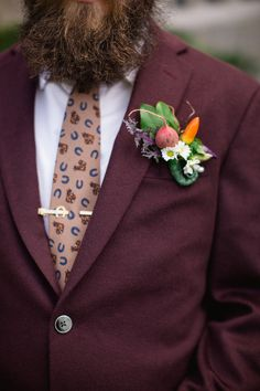 Grooms vegetable and flower boutonniere