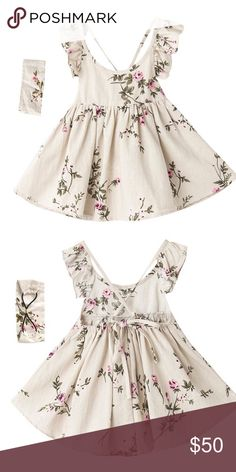 Toddler sleeveless floral linen dress Linen floral dress with flutter sleeve and criss cross back tie. Worn for one photo shoot Dresses Casual Cute Baby Dresses, Dresses Kids Girl, Kids Outfits, Vintage Style Dresses, Casual Dresses, Fashion Dresses, Little Fashion, Kids Fashion, Dress Anak