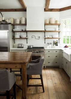 Modern + Rustic Kitchen // Open Shelving & Wood Beams