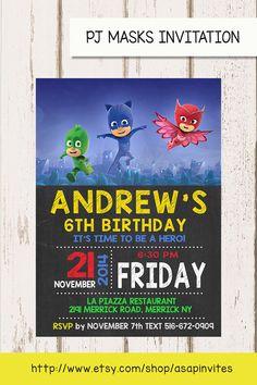 PJ MASKS Invitation PJ Masks  Invite Invite by Asapinvites on Etsy 4th Birthday Parties, 5th Birthday, Birthday Ideas, Festa Pj Masks, Birthday Party Invitations, Invites, Mask Party, Party Printables, Kids