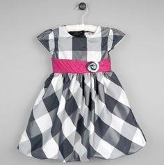 Dakota Checkered Dress with Pink Sash