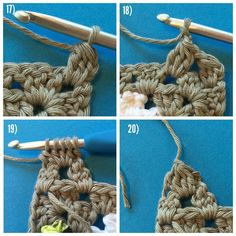 Part 5 -  Grannysquare Cat (USA terms) #grannysquarecat  17) Each Ear will be made separately. You will be making puff stitch clusters of unfinished DCs. Slipstitch new yarn to the upper right corner chain-space, and CH2. Then make 2 unfinished DC, and finish altogether with all loops on the hook. Ch1. 18) in the next chain space on the head, make a puff stitch of 3unfinished DC, then finish altogether. Ch2. 19) Flip over, and make 3 unfinished DC into the chain-space, and one unfinished DC…