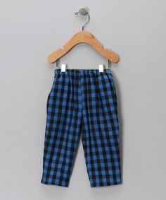 Blue & Black Gingham Pants  from Flap Happy on #zulily