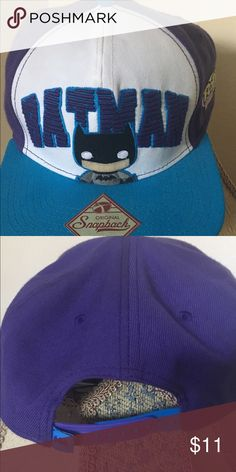 Batman Pop! Heroes Snapback Flat Bill Cap ✨✨Gently used once  or twice✨✨             Below is a more detailed product description.  Cap. Size (Approx.):(One size fit Most) Teenagers to Adults Size. High Quality. Licensed Products.  100% Polyester Brand New Item with Tags Official Licensed Product Snap Back Adjustable Bioworld Accessories Hats