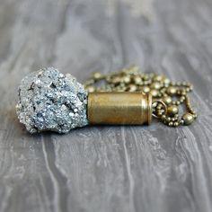 Shannon Hedges, Bashful Owl | Pyrite Crystal Bullet Necklace