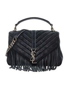 Monogram Fringe College Suede Shoulder Bag, Black (Noir) by Saint Laurent at Bergdorf Goodman.