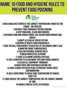 Kitchen Hygiene Rules For Home Economics