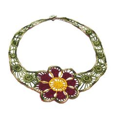 #Handmade Necklace--must have taken a long time to embroider but boy is it worth it! - $42.00