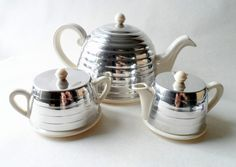 Item - Vintage 3 Piece Beehive EverHot Tea Set dating from the mid part of the 20th Century marked with the registration design number 861576 this