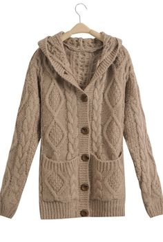 Casual Twisted Print Warm Thicken Sweater Coat I bought this and it so warm and comfortable love it