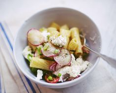 Spring Pasta Salad.  With radishes, green peas and ricotta.  Via the jewels of New York.