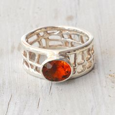 Orange Yellow Citrine Geometric Ring Sunshine by SunSanJewelry, $135.00