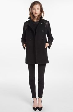 maje 'Daho' Leather Detail Peacoat available at #Nordstrom