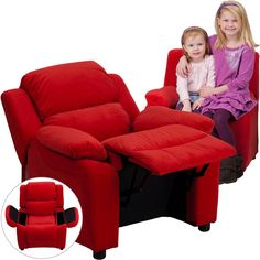 Deluxe Heavily Padded Contemporary Red Microfiber Kids Recliner with Storage Arms BT-7985-KID-MIC-RED-GG by Flash Furniture