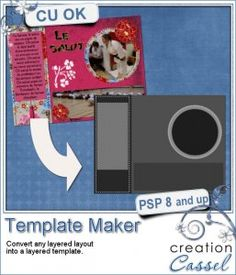 Template maker - #PSP #script - Use a ready made page of yours and turn it into a template in seconds. Open your page, hide the personal elements (or those you don't want in the template, like text) and run the script. You can use it with pages, but also multilayered elements that you might want to offer in greyscale.