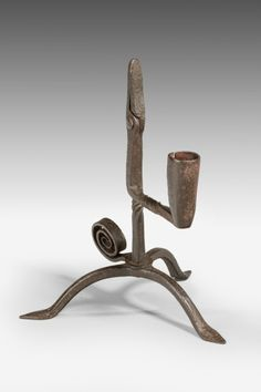 Early 19th Century Wrought Iron Table Rushnip with Candleholder