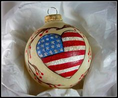 Check out this item in my Etsy shop https://www.etsy.com/listing/232867843/americana-ornament-hand-painted-red